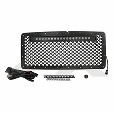 RT Offroad Black Matte Stainless Grille & LED Light Bar Kit for 2007-2015 Wrangler JK