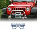 Polished Stainless Steel D-Rings, XHD Modular Front, Rear Bumper by Rugged Ridge