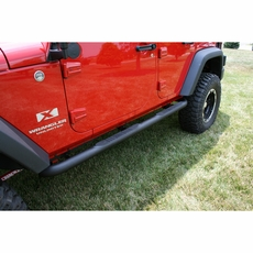 3-Inch Round Side Steps, Black, 07-17 Jeep 2-Door Wrangler by Rugged Ridge