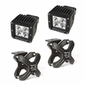 Small X-Clamp & Cube LED Light Kit, Textured Black, Pair by Rugged Ridge