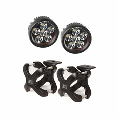 Small X-Clamp & Round LED Light Kit, Black, Pair by Rugged Ridge