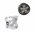 Small X-Clamp & Round LED Light Kit, Silver, Single by Rugged Ridge
