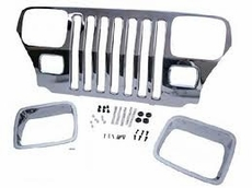 Stainless Steel Grille Overlay Kit Jeep Wrangler (1987-1995); Stainless Steel; incl. Headlight Bezels.