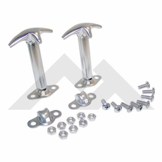Hood Catch Kit, Stainless Steel, 46-95 Jeep CJ and Wrangler by Rugged Ridge