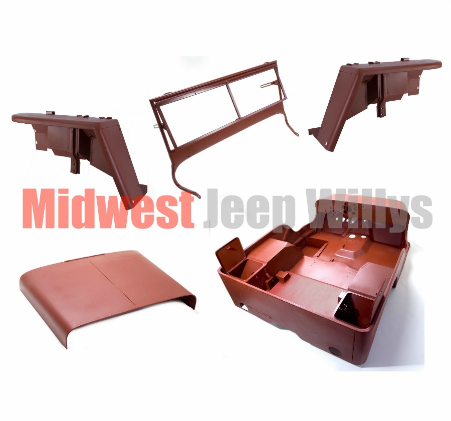 Jeep part 12001 20 steel body kit willys mb 1943 body with fenders hood windshield midwest