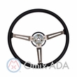 Steering Wheel, Black 3 Metal Spoke Design, 1976-95 Jeep CJ7 & Jeep Wrangler YJ