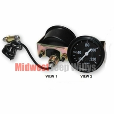 Replacement Temperature Gauge for 1941-1947 Willys Jeep MB, GPW, CJ2A Models