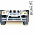 3-Inch Double Tube Front Bumper, Stainless Steel, 76-06 Jeep Models by Rugged Ridge
