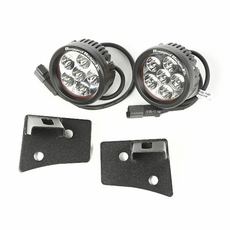 Windshield Bracket LED Kit, Textured Black, Round, 07-17 Jeep Wrangler by Rugged Ridge
