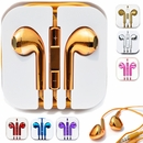 Gold Electroplate Earphones for iPhone W/ Mic & Remote