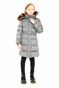 Add Long Down Jacket With Detachable Fur And Hood
