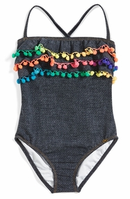 PILYQ Denim Pom Pom One Piece Swim Suit
