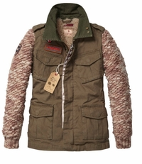 Scotch R'Belle Army Jacket With Knitted Sleeves