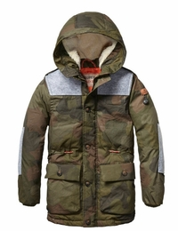 Scotch & Soda Shrunk Boys Longer Quilted Jacket With Teddy Hood Lining