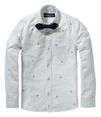 Scotch & Soda Shrunk Dress Shirt With Bow Tie