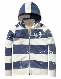 Scotch & Soda Shrunk Zip Up Hoodie With Back Art