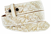 "BS036 White Belt Western Floral Engraved Tooling Full Grain Leather Belt Strap 1-1/2"" - White"