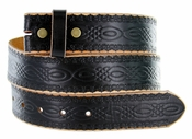 "BS085 Full Grain Tooled Leather Black Belt Strap 1 1/2"" wide"