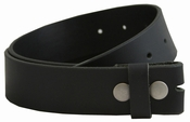 BS1300 100% Solid Piece Leather Belt Strap Big & Tall - Black