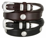 Buffalo Nickel & Indian Nickel Concho Oil Tan Leather  Ranger Belt