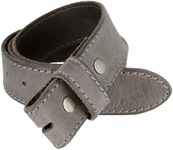 "E051 One Piece 100% Full Genuine Leather Belt Strap 1-1/2"" (38mm) - Grey"