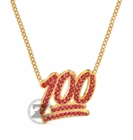 100 Emoji Ruby Red Pendant 14K Gold