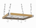 Concept Housewares 23 x 19 Inch Hardwood Hanging Pot Rack, Natural Wood