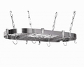 Concept Housewares 40 x 20 Inch Oval Hanging Pot Rack, Stainless Steel
