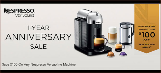 Save $100 on all VertuoLine Nespresso Machines