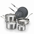 Lagostina Axia Tri Ply Stainless Ceramic Cookware Set, 10 Piece