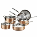 Lagostina Martellata Hammered Copper Cookware Set, 10 Piece