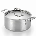 Lagostina Martellata Hammered Stainless Steel Covered Stewpot, 5 Quart