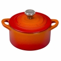 Le Creuset Cast Iron 0.3 Quart Round French Oven w/ Stainless Handle, Flame Orange