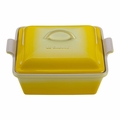 Le Creuset Heritage Stoneware 2 Quart Covered Square Casserole, Soleil Yellow