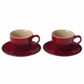 Le Creuset Set of 2 Cappuccino Cups and Saucers, Cherry Red