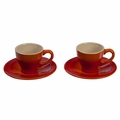 Le Creuset Set of 2 Espresso Cups and Saucers, Flame Orange