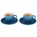Le Creuset Set of 2 Espresso Cups and Saucers, Marseille Blue