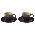Le Creuset Set of 2 Espresso Cups and Saucers, Truffle Brown