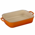 Le Creuset Signature 7 Quart Cast Iron Roaster, Flame Orange
