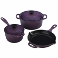 Le Creuset Signature Cast Iron 5 Piece Cookware Set, Cassis Purple
