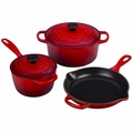 Le Creuset Signature Cast Iron 5 Piece Cookware Set, Cherry Red