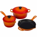 Le Creuset Signature Cast Iron 5 Piece Cookware Set, Flame Orange