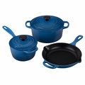 Le Creuset Signature Cast Iron 5 Piece Cookware Set, Marseille Blue