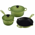 Le Creuset Signature Cast Iron 5 Piece Cookware Set, Palm Green