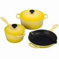 Le Creuset Signature Cast Iron 5 Piece Cookware Set, Soleil Yellow