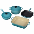 Le Creuset Signature Cast Iron 6 Piece Cookware Set, Caribbean Blue