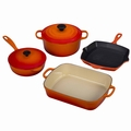 Le Creuset Signature Cast Iron 6 Piece Cookware Set, Flame Orange