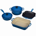 Le Creuset Signature Cast Iron 6 Piece Cookware Set, Marseille Blue
