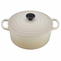 Le Creuset Signature Enameled Cast Iron 4.5 Quart Round French Oven, Dune White