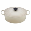 Le Creuset Signature Enameled Cast Iron 9.5 Quart Oval French Oven, Dune White